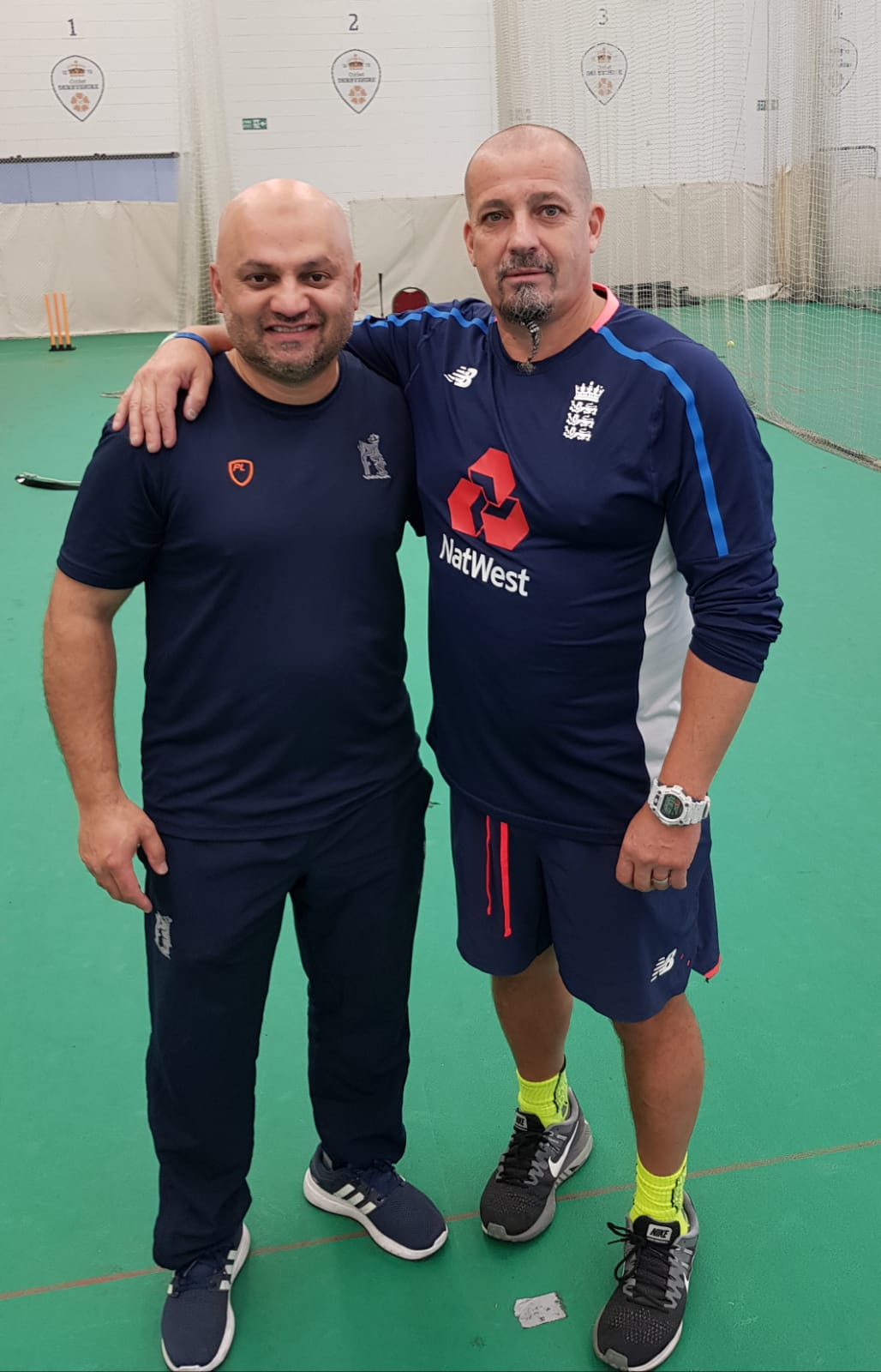 Sohail working on power hitting techniques with Julian Wood. England power hitting coach.